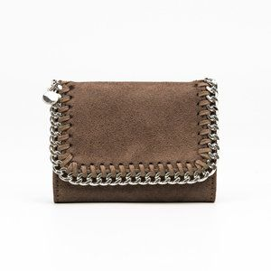 Plush Wallet With Chain Detail, Taupe
